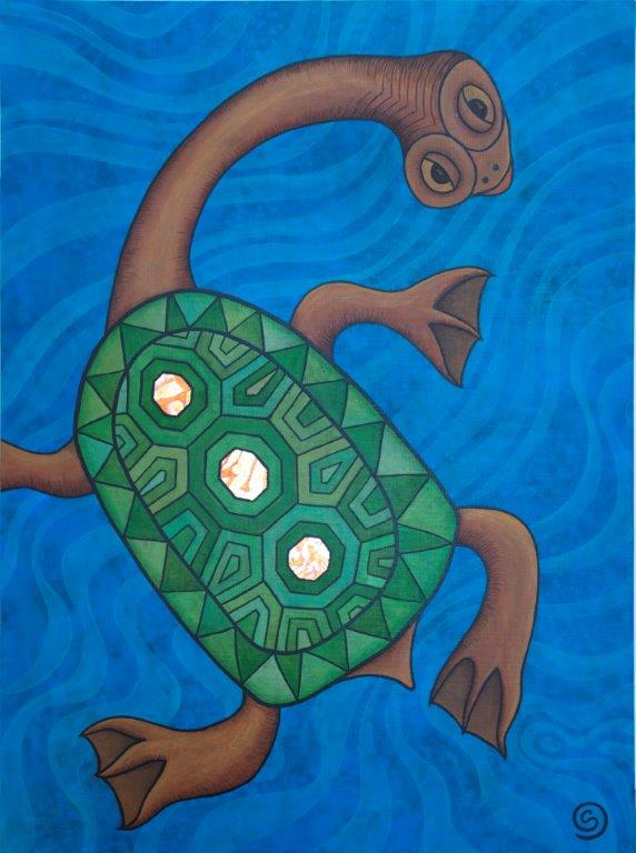 The Last Turtle, 102 x 76 cm Acrylic and turned metal leaf on linen $900.