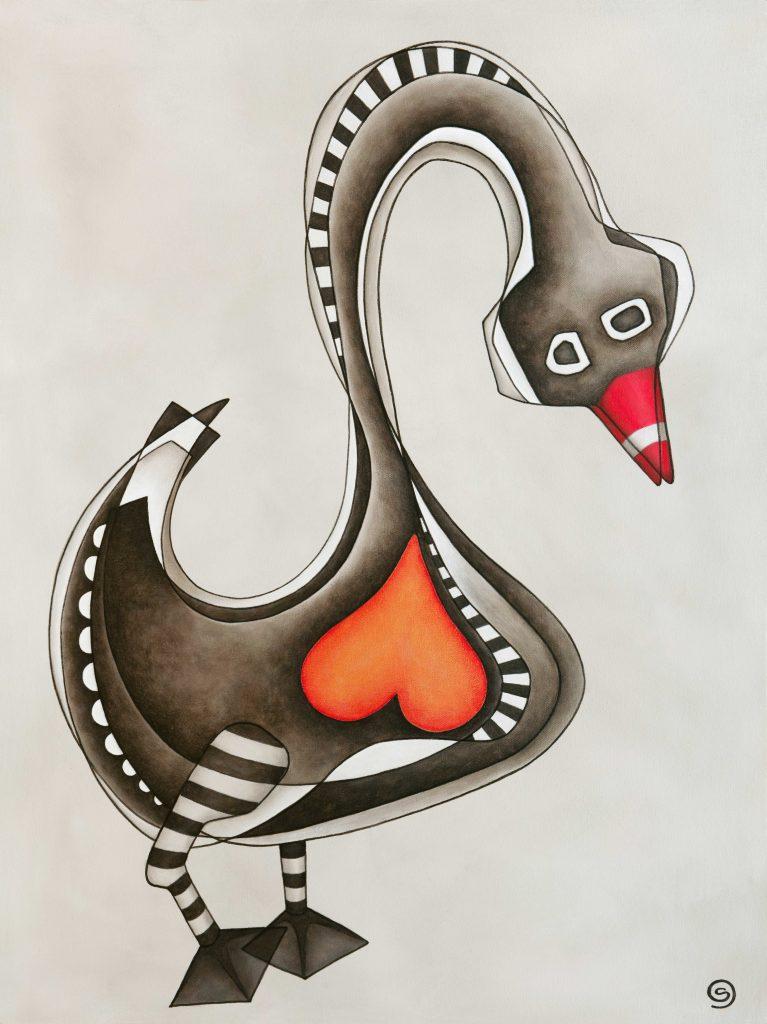 Black Swan, 102x76cm. Acrylic on Canvas, $1600