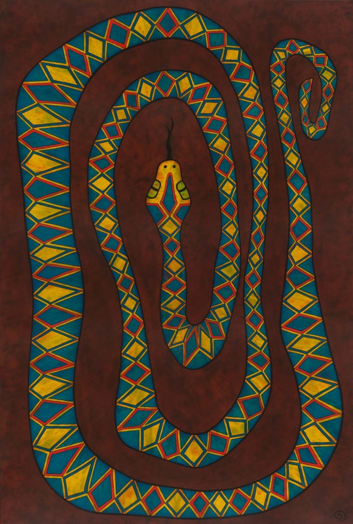 Rainbow Serpent, 182 x 122 cm, Arcylic on canvas, $2,200.